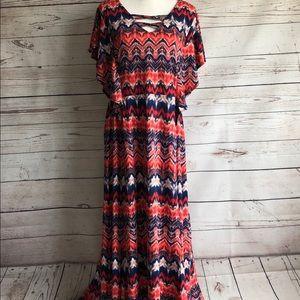 ny collection woman v-neck chevron dress sz 2x.